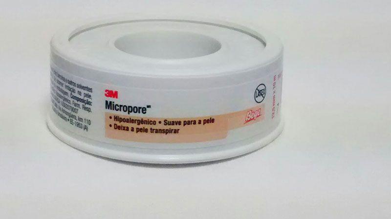 Fita Adesiva Micropore 3M 12,5mmX10m Bege - 06 unidades