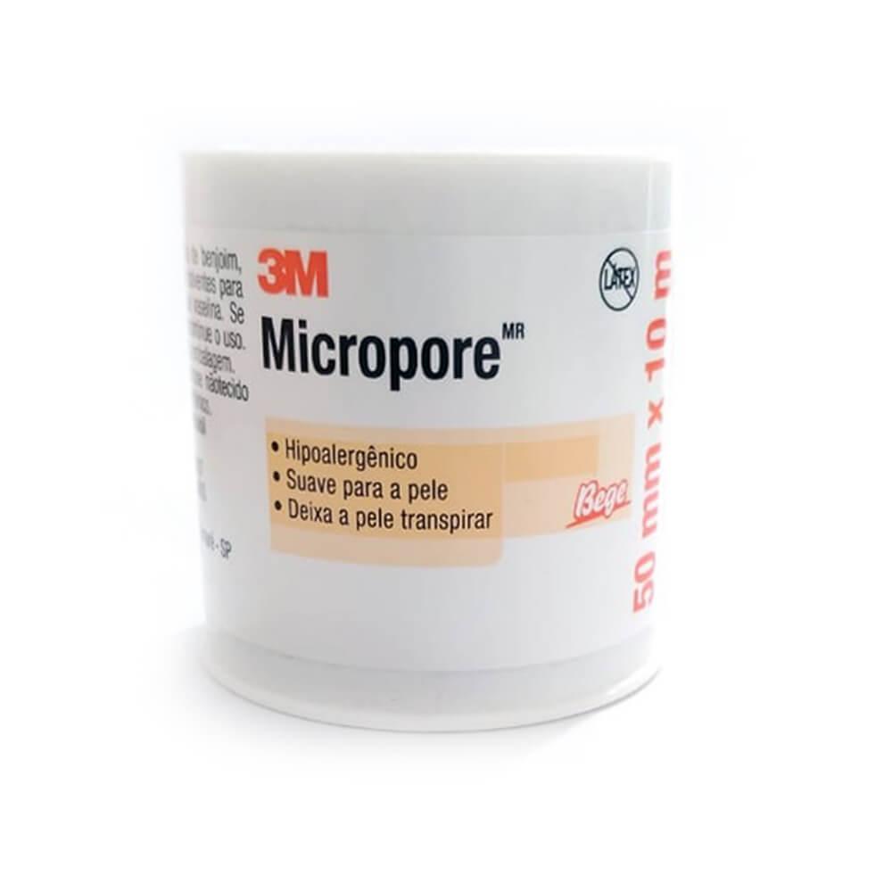Fita Adesiva Micropore 3M 50mmX10m Bege- 12 unidades