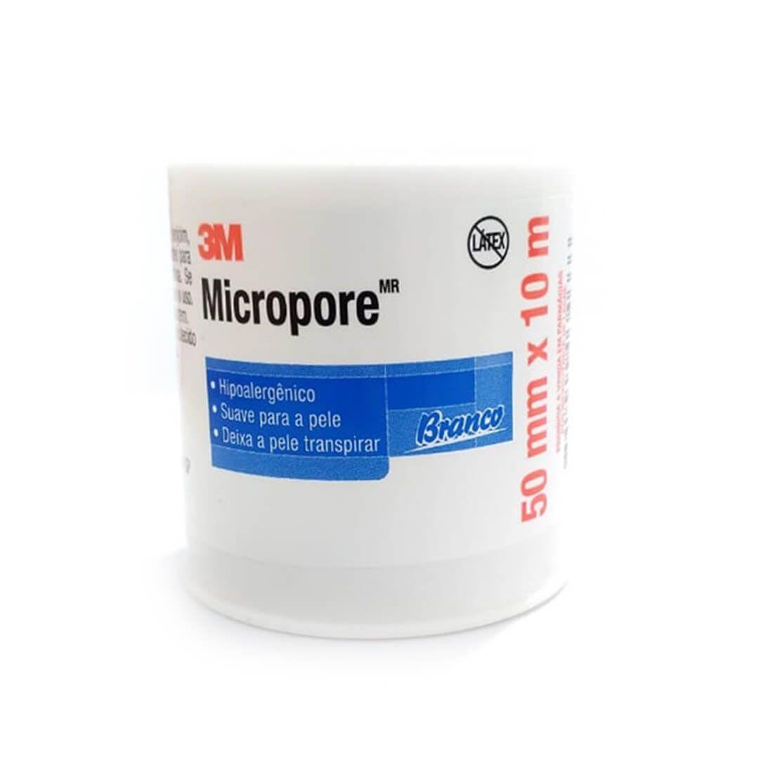 Fita Adesiva Micropore 3M 50mmX10m Branco- 06 unidades