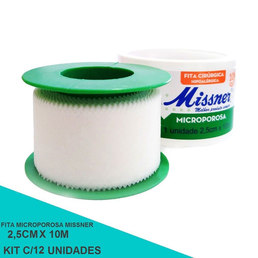 Fita microporosa 2,5 cm x 10 m - Missner 12 unidades