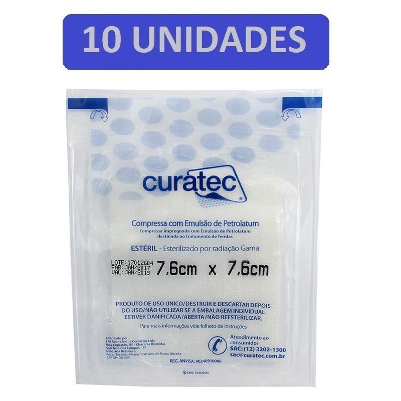 Compressa de Emulsão de Petrolatum Curatec 7,6cmX7,6cm- Kit c/10 unidades