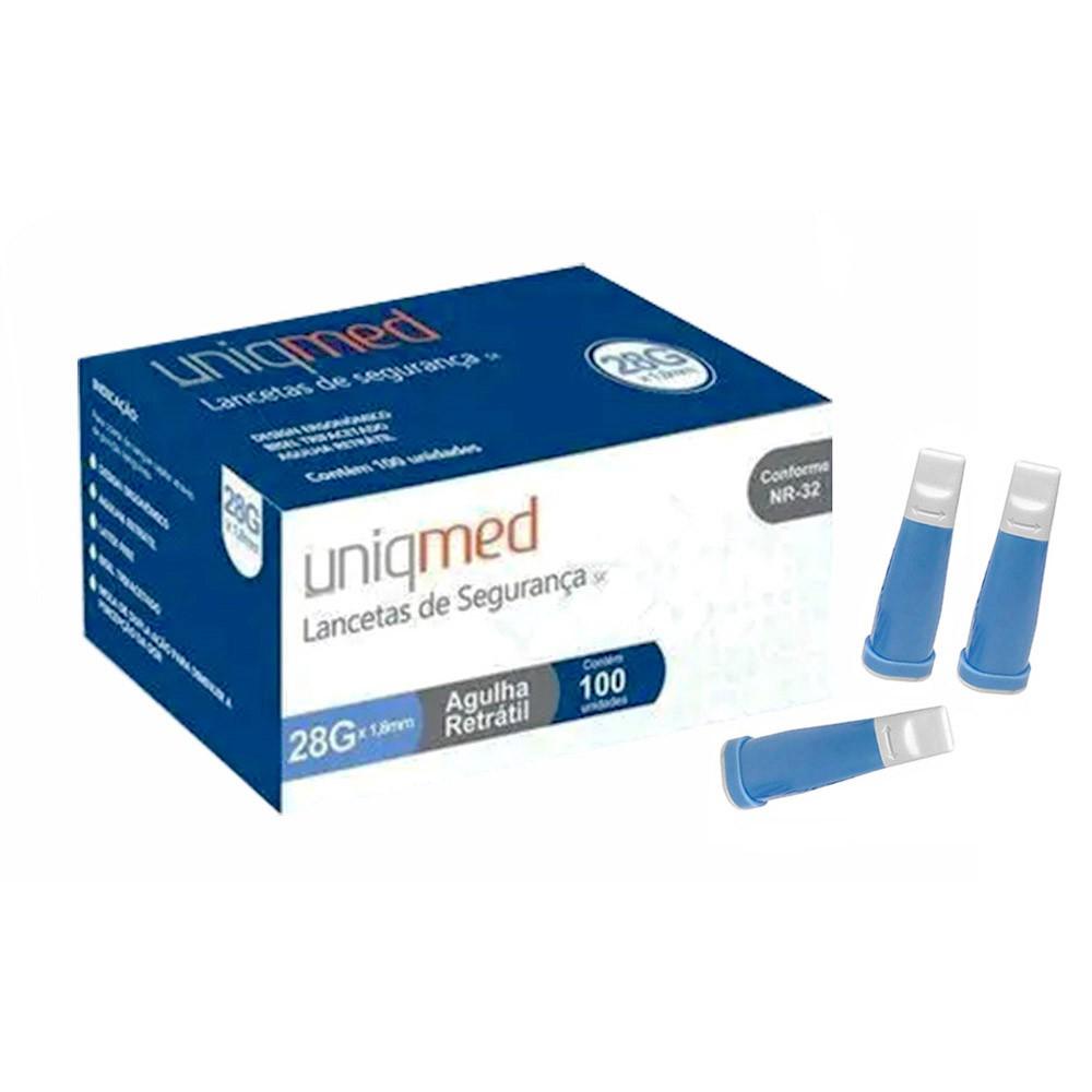 Lanceta de Segurança 28G Uniqmed c/100 unidades