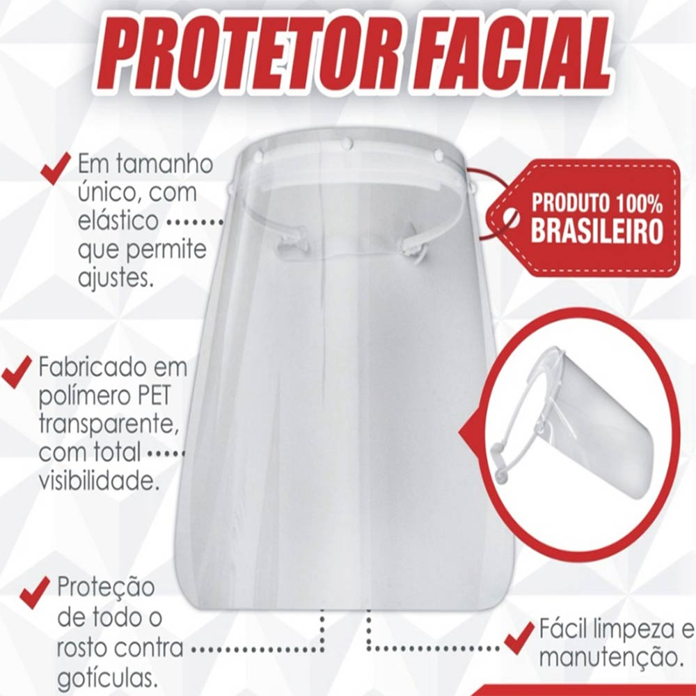 Máscara Face Shield Protetor Facial Anti Respingos Mebuki - Kit c/25 Unidades