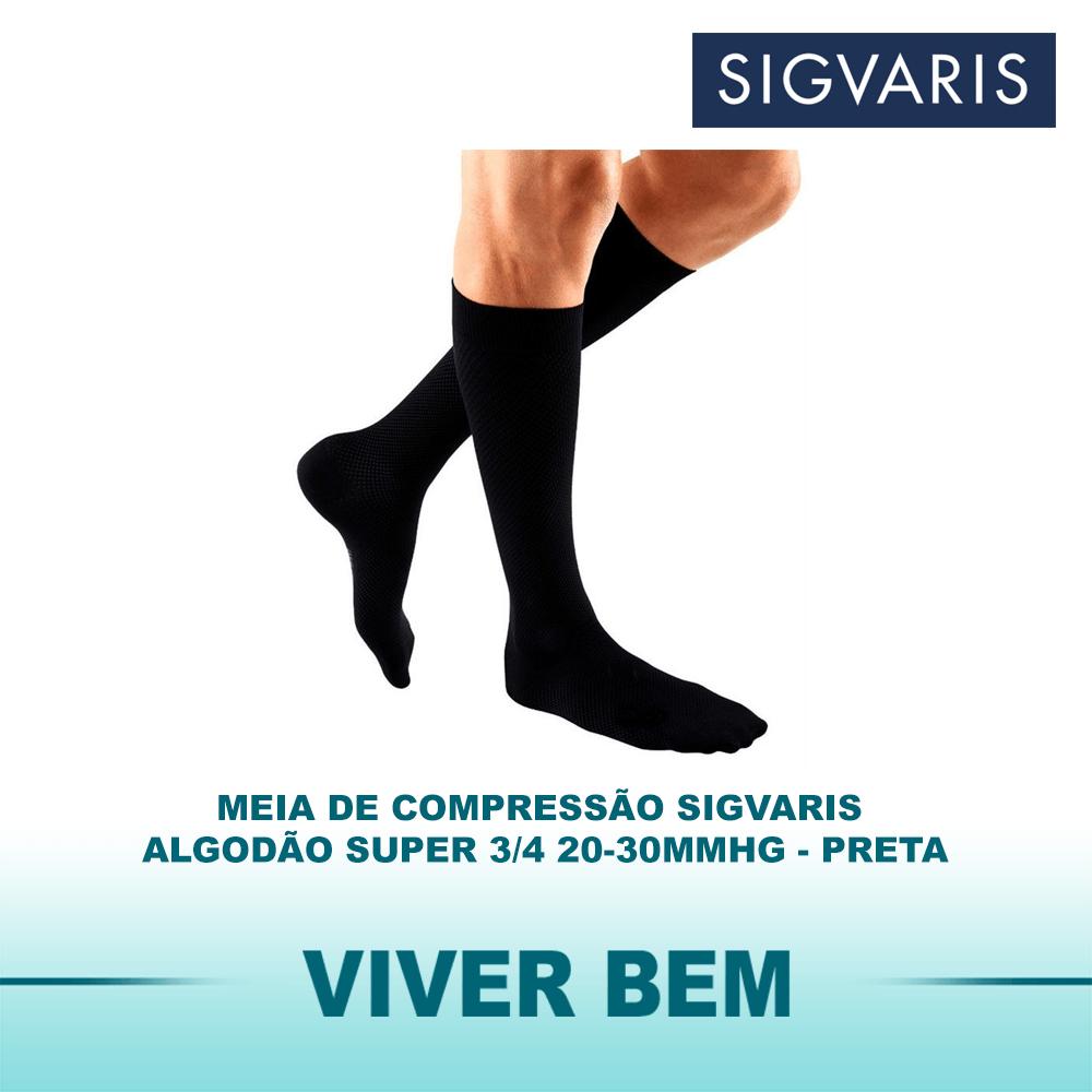 Meia de Compressão Sigvaris Algodão Super 3/4 20-30mmHg Cor Preta