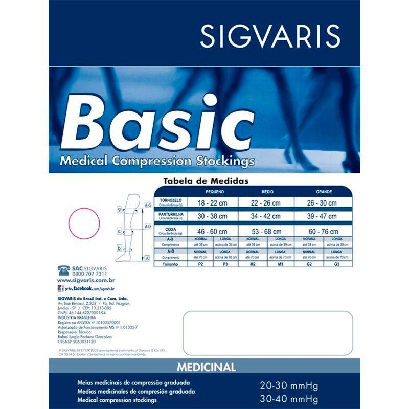 Meia de Compressão Sigvaris Basic 3/4 20-30mmHg Cor Bege