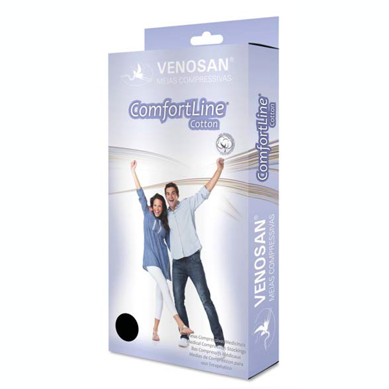 Meia de Compressão Venosan Comfortline Cotton 3/4 30-40mmHg Cor Bege