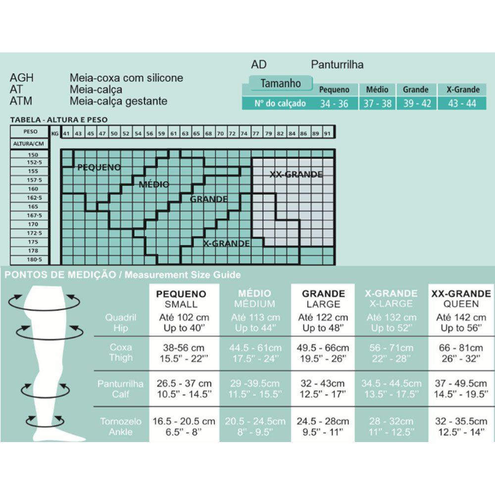 Meia de Suave Compressão Venosan Legline 3/4 15-23mmHg Cor Preta