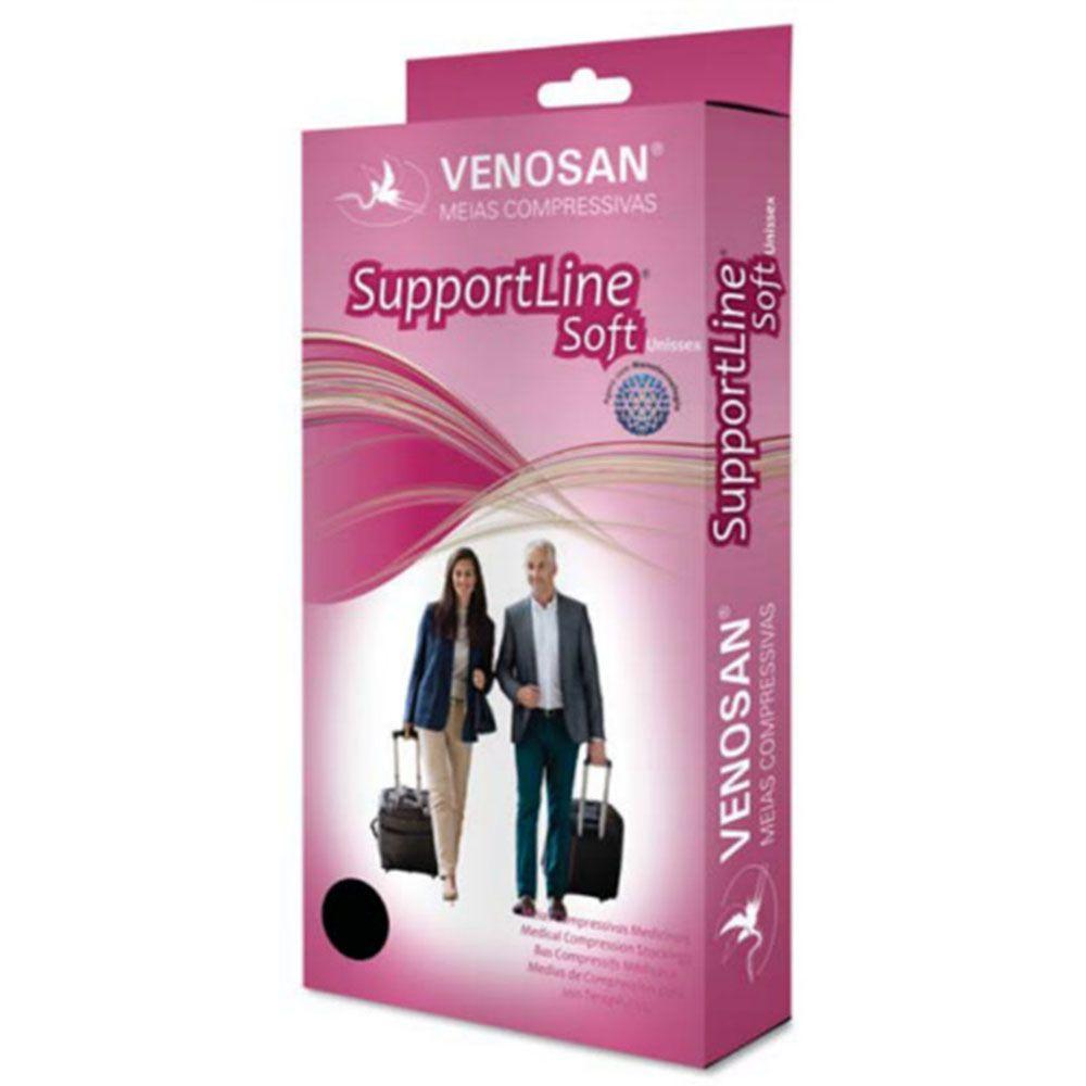 Meia de Suave Compressão Venosan Supportline Soft 3/4 18-22mmHg Cor Preta