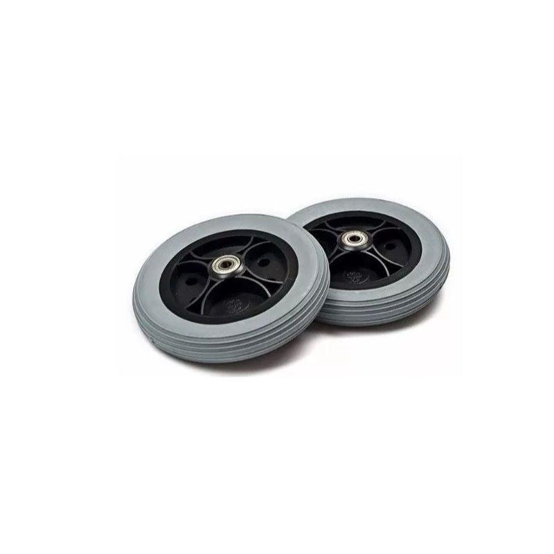 Roda aro 6 Preta com pneu largo cinza Par