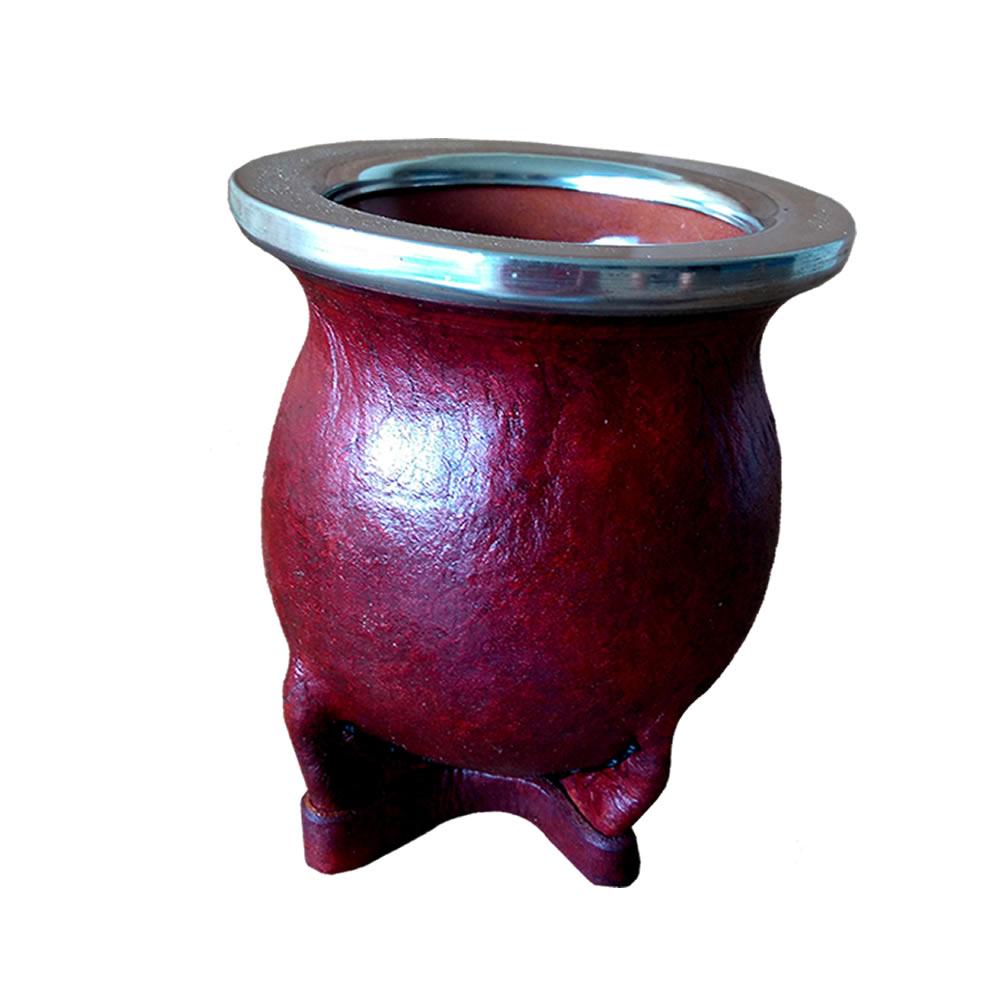 Cuia de Porcelana Revestida em Couro - Marrom avermelhado