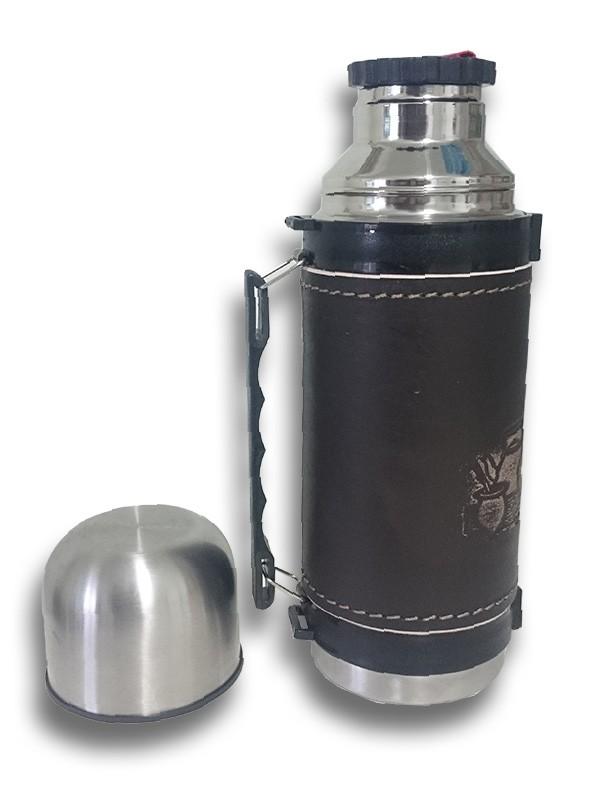 Garrafa Térmica Inox para Água Quente  em couro com alça.