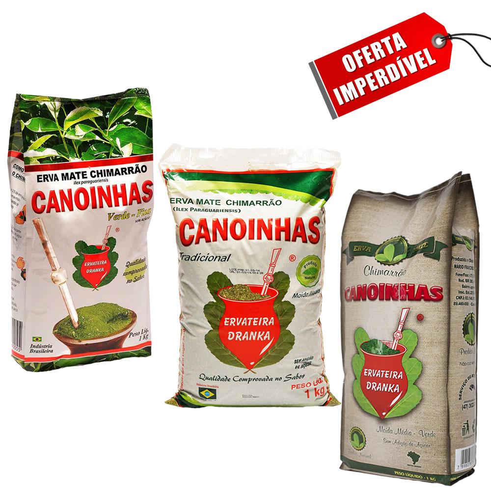 Kit 3 Pacotes de Erva Mate Canoinhas Sortidas - 1Kg