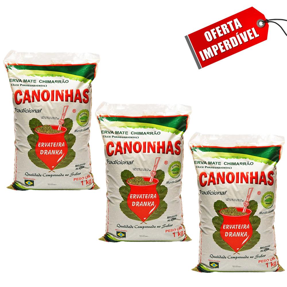 Kit 3 Pacotes de Erva Mate Canoinhas Tradicional Média - 1Kg