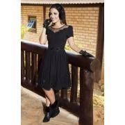 92154 - Vestido de Algodão Bordado c/ Forro Det. em Tule e Guipier / PRODUTO NA PROMOÇÃO NÃO TEM DESCONTO NO PAGAMENTO A VISTA