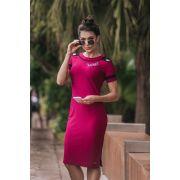 92338 - vestido em malha tubinho det. aplique love