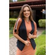 93023 -Conjunto de Vestido com colete em malha canelada c/ det. retilinea ( com elastano)