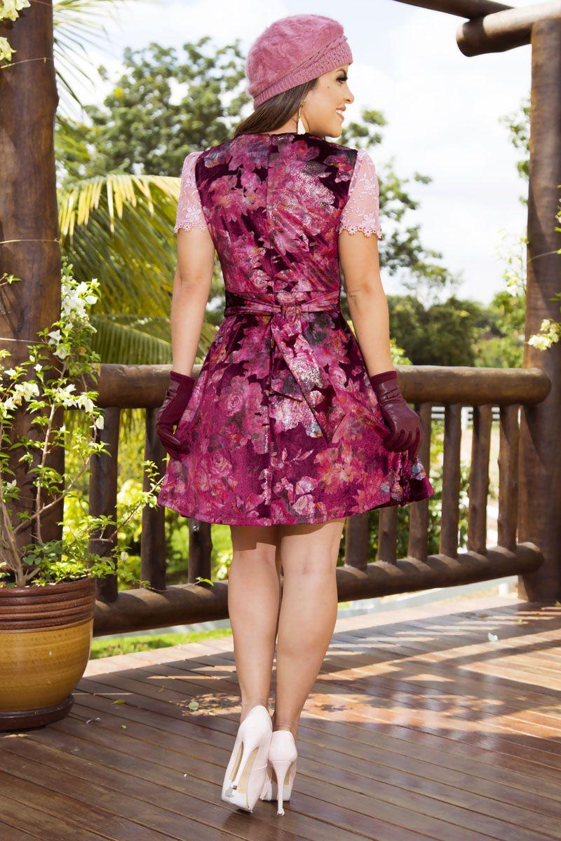 92151 - vestido em Veludo Estamp. c/ Forro Det. em Tule Bordado / PRODUTO NA PROMOÇÃO NÃO TEM DESCONTO NO PAGAMENTO A VISTA