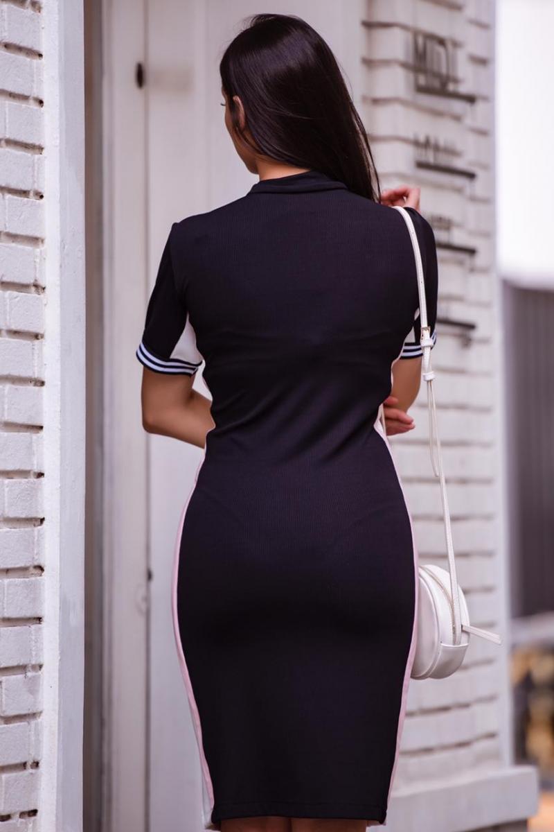 92337 - vestido em malha det. em ziper frontal