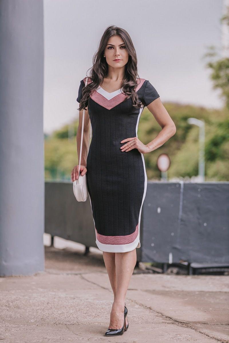 92342 - vestido tubinho em malha tricolor c/ forro