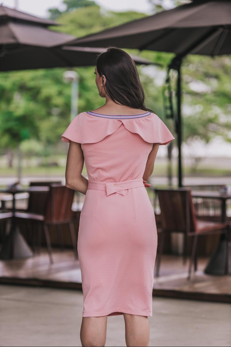 92352 - Vestido em malha c/ det. bordado e cinto