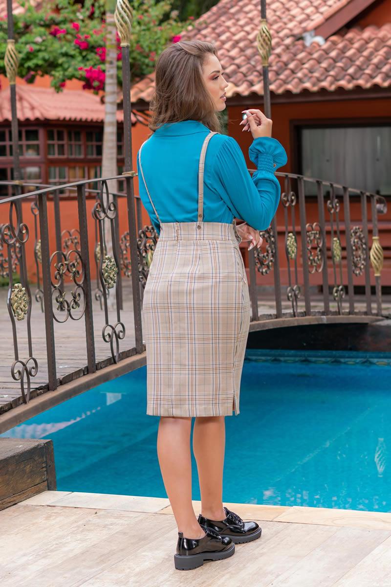 93030-Salopete em alfaiataria xadrez com bolsos ( com elastano)