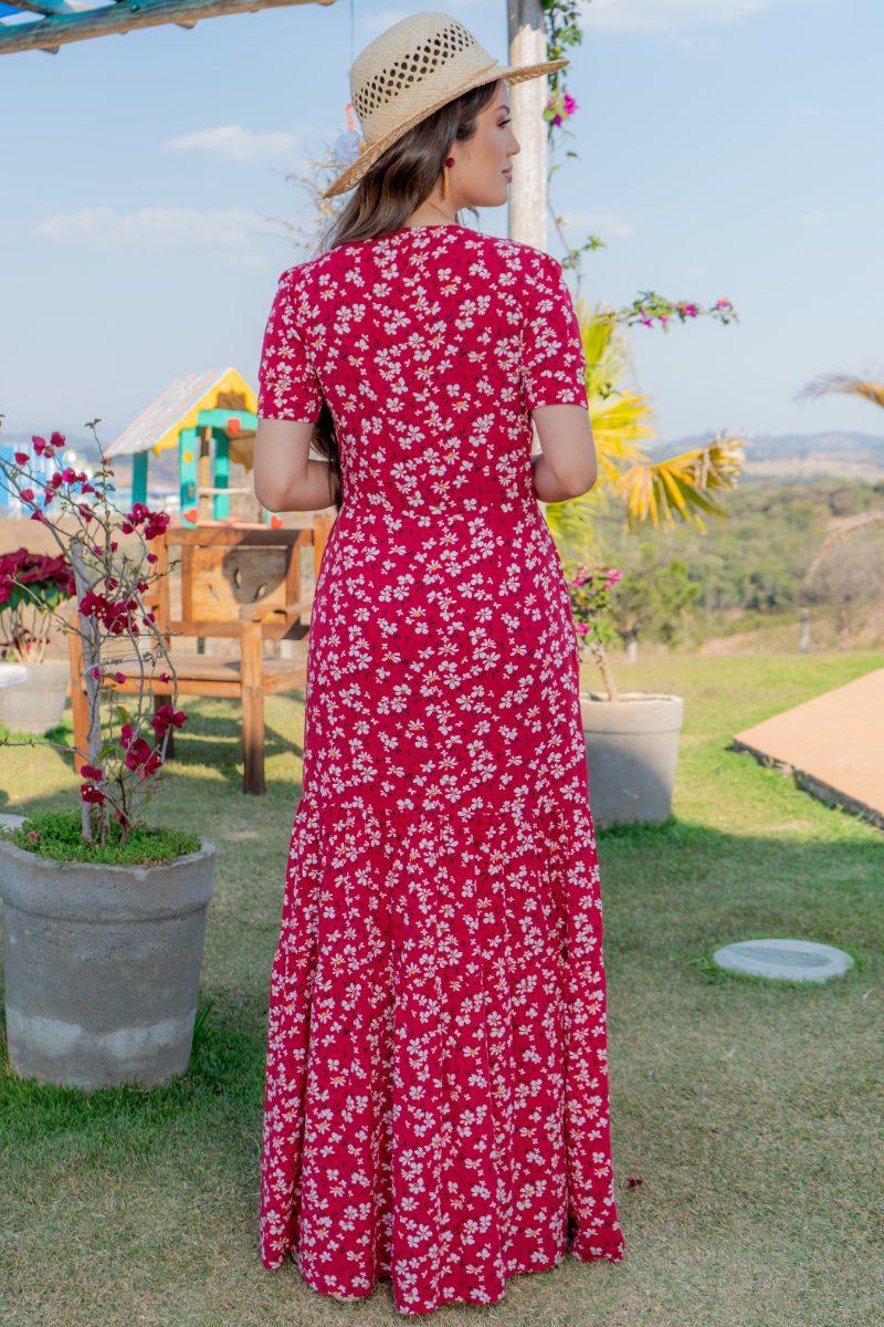 93141 - Vestido longo em viscolinho estampado (SEM ELASTANO)