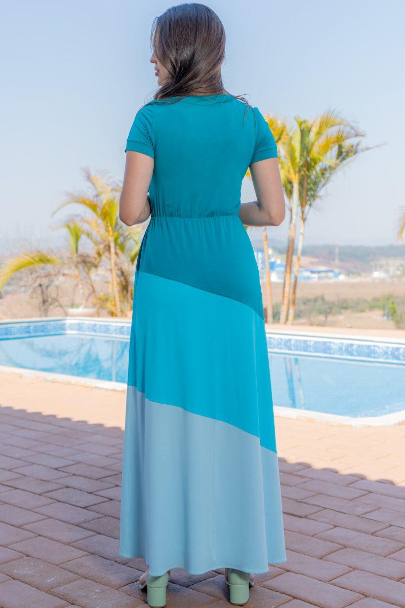 93148 - Vestido longo em malha collor block (COM ELASTANO)