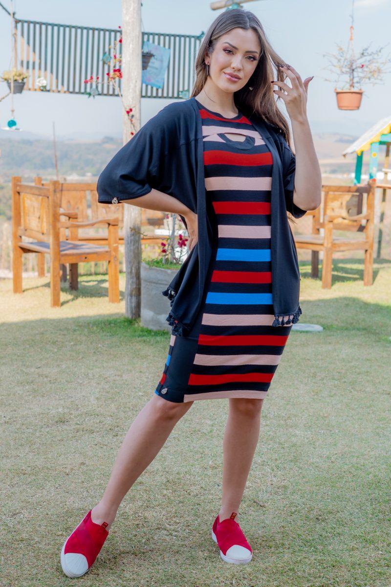 93153 - Kimono em malha c/ barrado (COM ELASTANO)