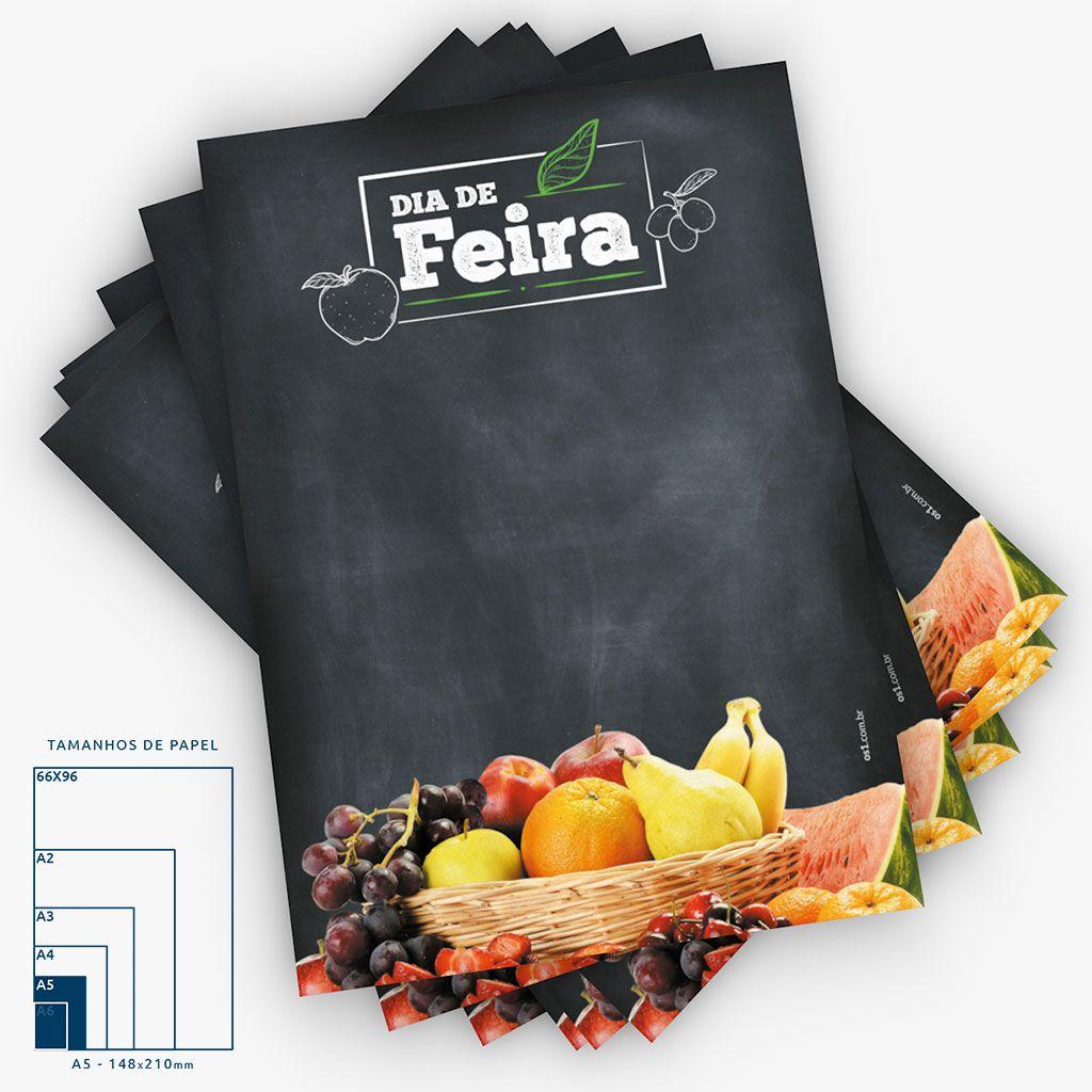 Cartaz Papel Cartão Dia de Feira Frutas A5 4x0 50 un