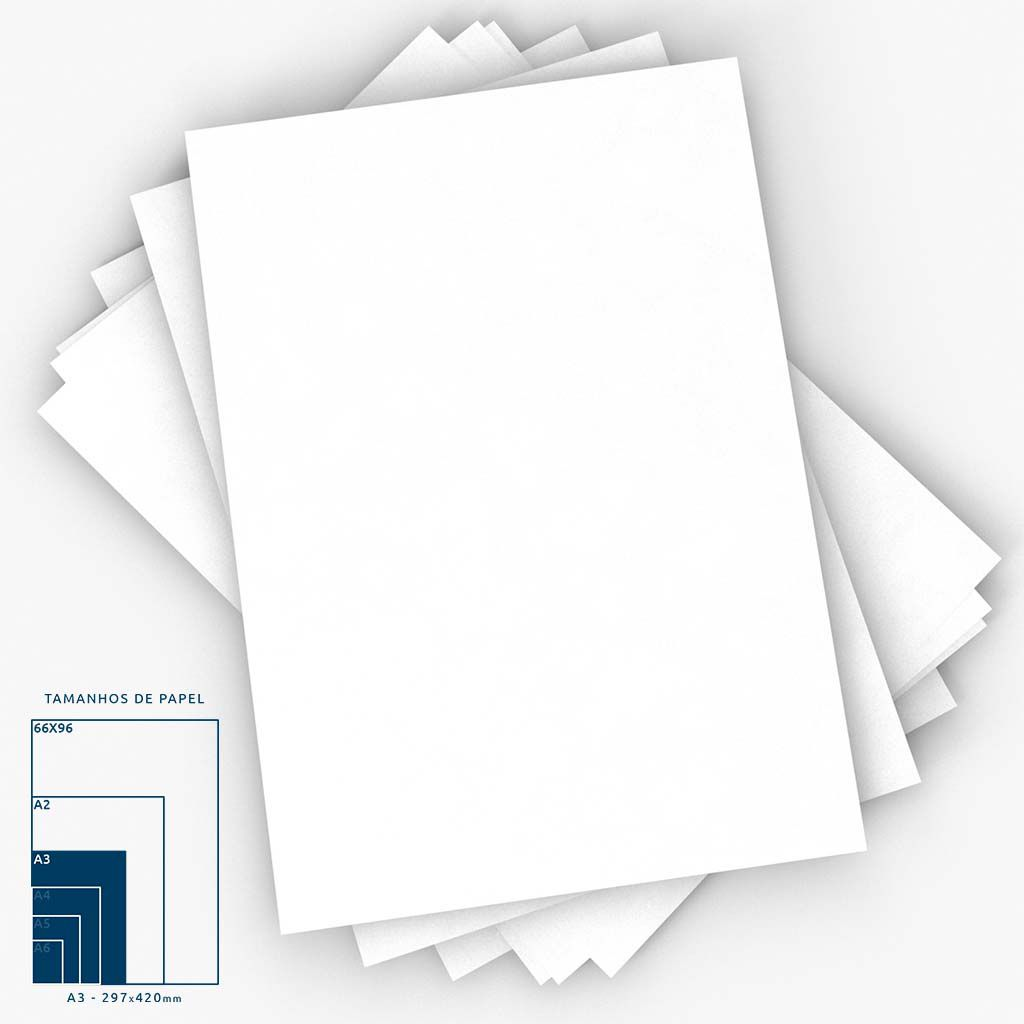 Cartaz Papel Cartão Liso Branco A3 100 un