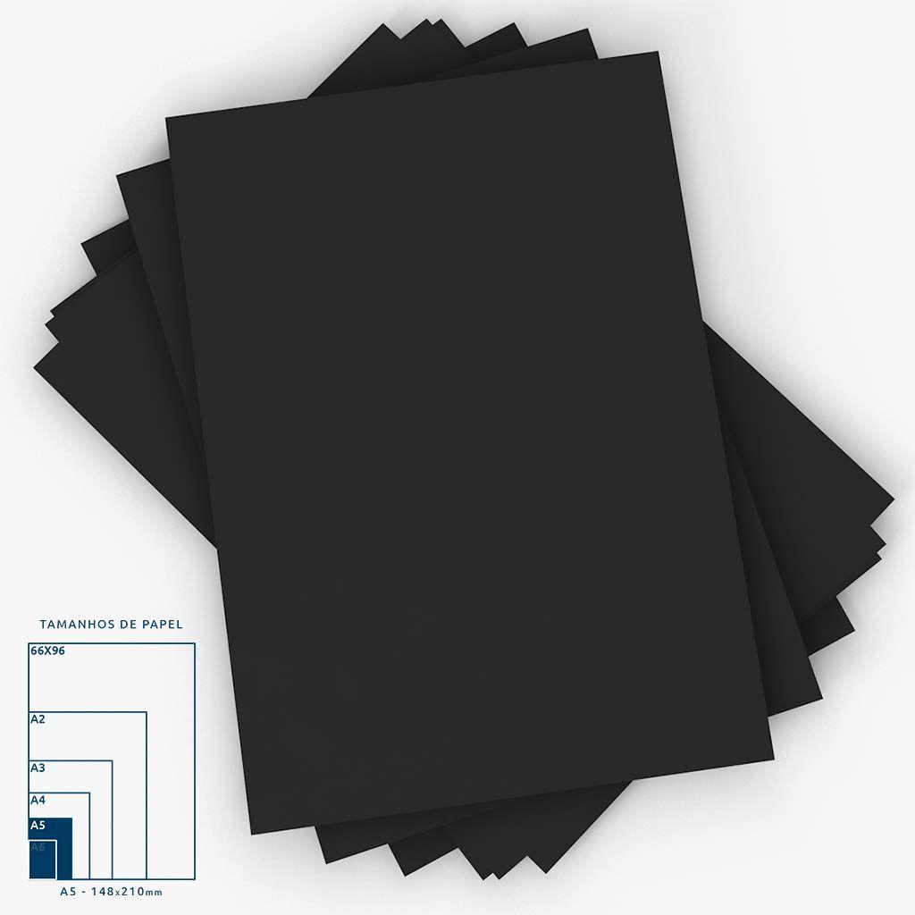 Cartaz Papel Cartão Liso Preto A5 100 un