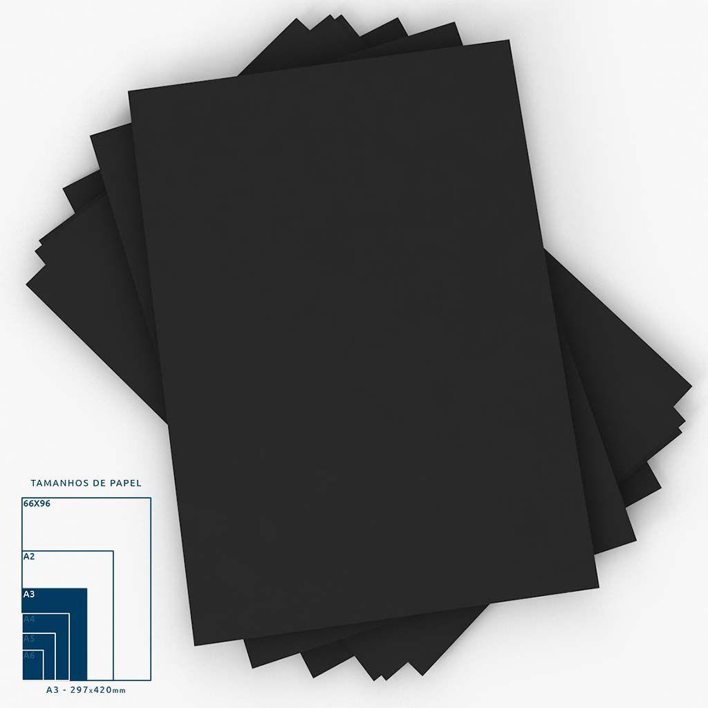 Cartaz Papel Cartão LisoPreto A3 100 um