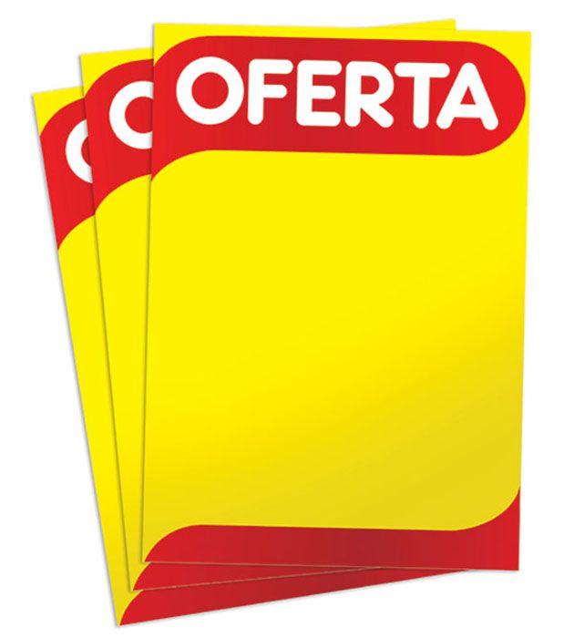 Cartaz Papel Cartão Oferta Amarelo/Vermelho A5 100 un