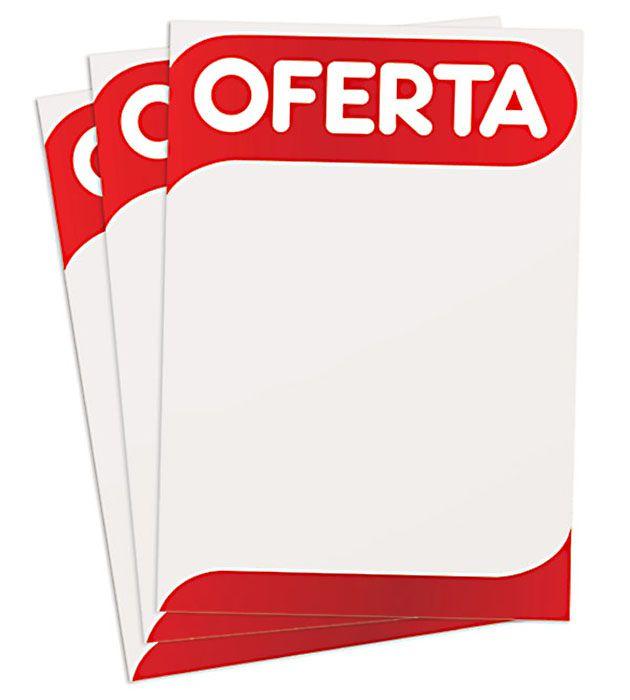 Cartaz Papel Cartão Oferta Branco/Vermelho A2 100 un