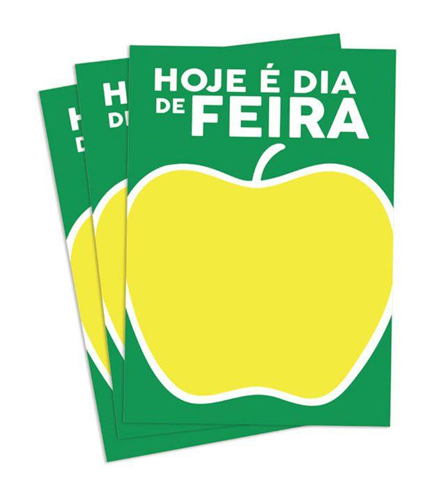 Cartaz Papel Cartão Oferta Dia de Feira Verde/Amarelo/Branco A2 100 un