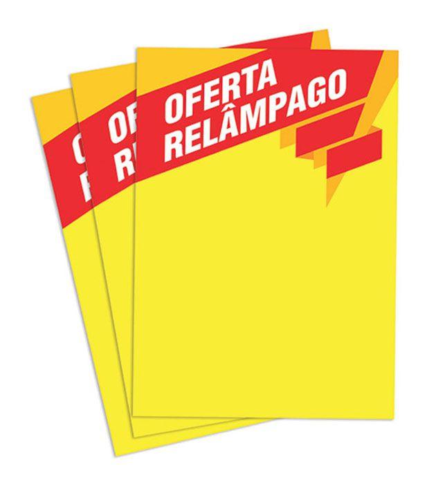 Cartaz Papel Cartão Oferta Relâmpago Amarelo/Vermelho A2 100 un