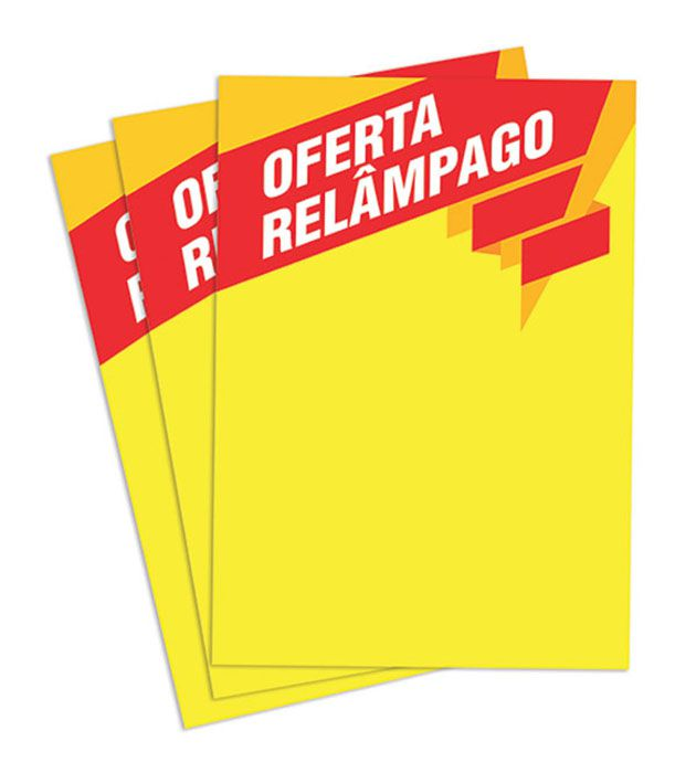 Cartaz Papel Cartão Oferta Relâmpago Amarelo/Vermelho A4  100 un