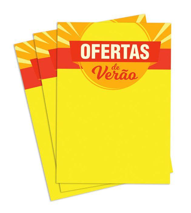 Cartaz Papel Cartão Oferta Verão Amarelo/Vermelho A2 100 un