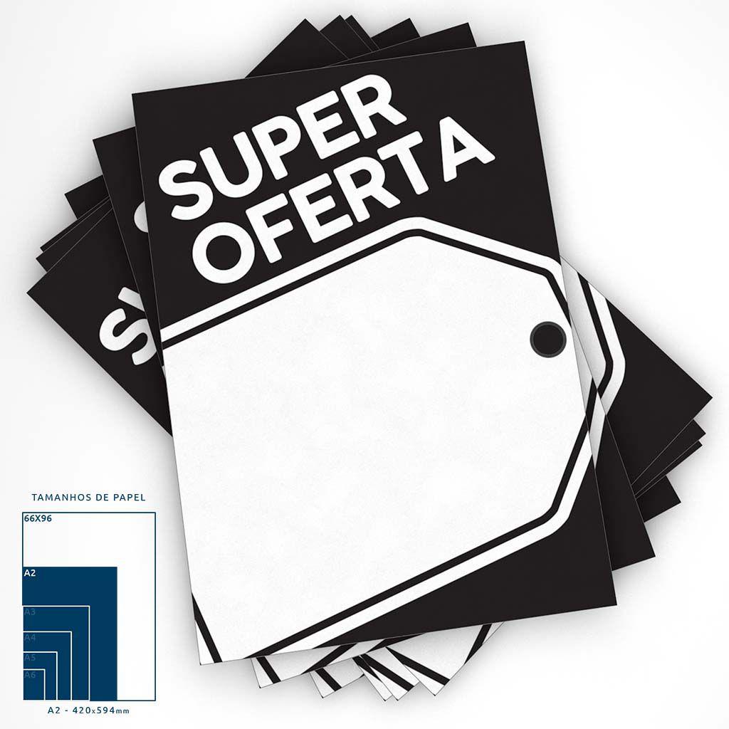 Cartaz Papel Cartão Preto Super Oferta A2 100 un