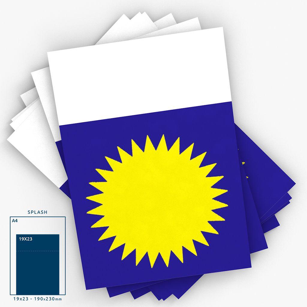 Cartaz Papel Cartão Splash Horizontal c/ Aba Azul/Amarelo/Branco 19X23 25 un