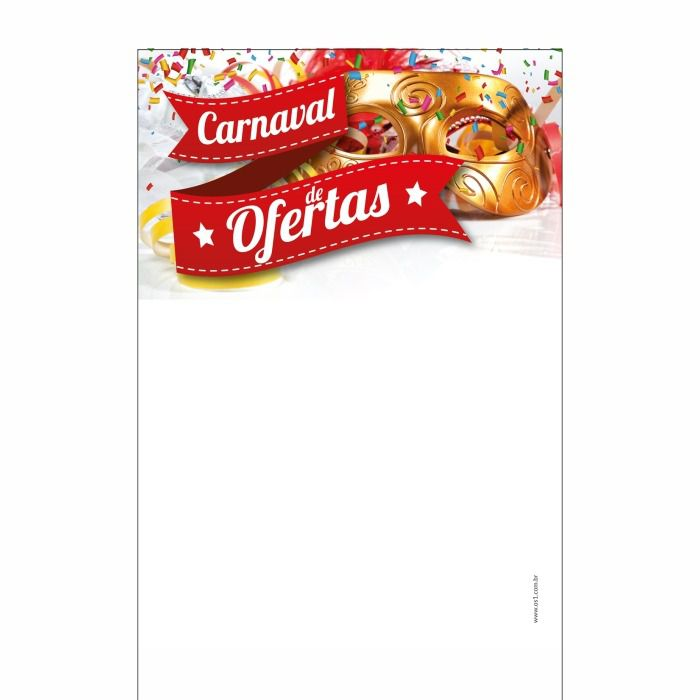 Cartaz Papel Cartão Temático Carnaval de Ofertas Colorido A6 25 un