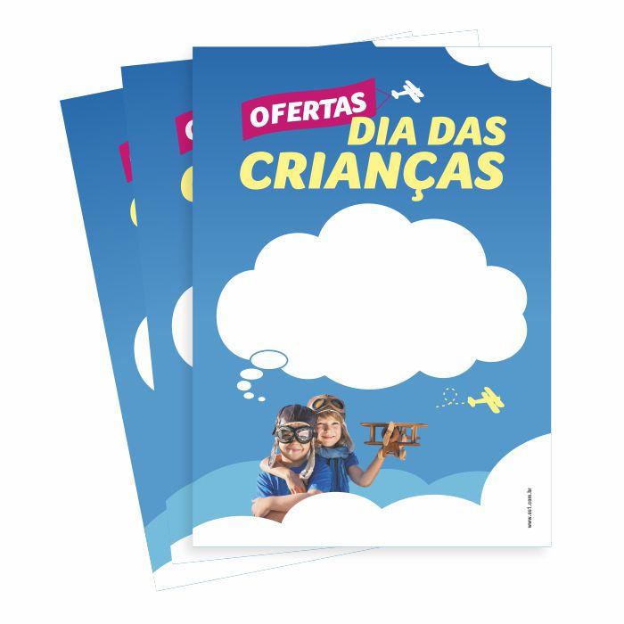 Cartaz Papel Offset Oferta de Dia das Crianças 4x0 A4 25 um