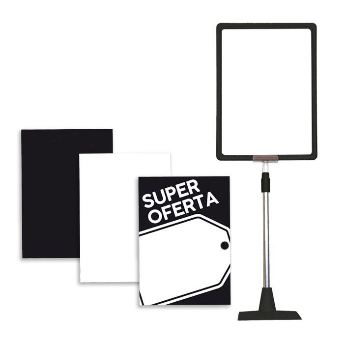 Combo Kit Moldura Preto A4 + Combinação de Cartazes Preto/Branco liso