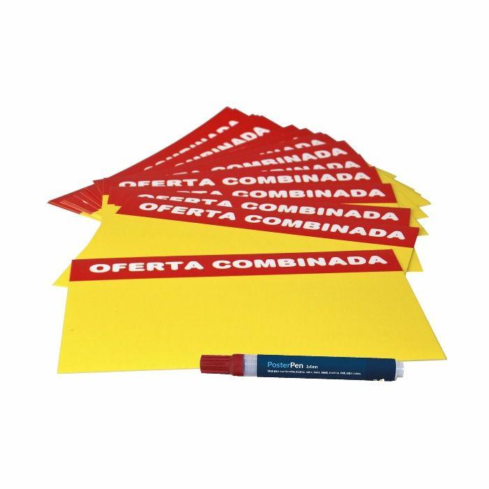Combo Cartaz Papel Cartão Oferta Combinada + Caneta 2/5 Vermelha