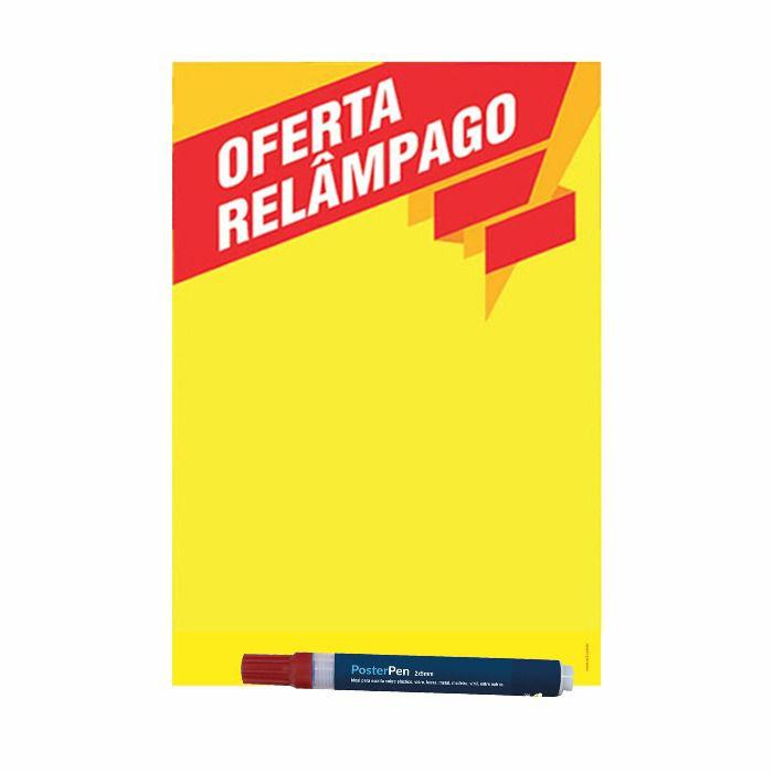 Combo Relâmpago Cartaz A4 + A5 + Caneta 2/5 Vermelha