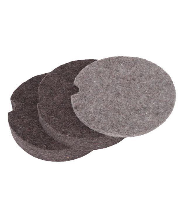Markit Conjunto Refil Bases Circulares de Feltro p/ Pote Cinza F/G  tamanhos mistos 3 un