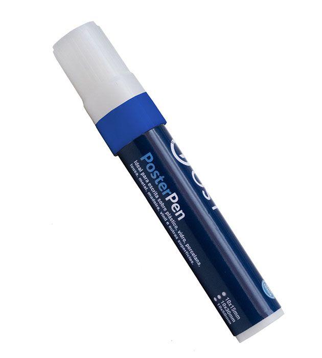 Caneta Profissional Recarregável Poster Pen Azul 10/15