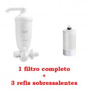 Filtro Agua Acqua Bella Branco + 3 Refis Acqua Bella Rv-01