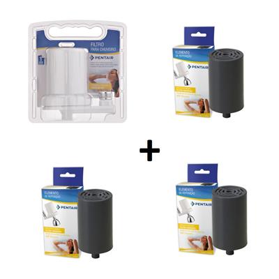 Filtro Para Chuveiro Acqua Star + 3 pçs Refis Chuveiro