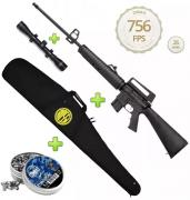 Kit Carabina De Pressão Rossi Rifle M-16 R 5,5mm + Acessórios